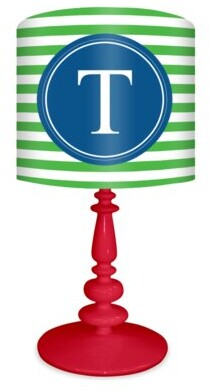 """Oopsy Daisy Fine Art For Kids Striped Custome Monogram 21"""" Table Lamp"""
