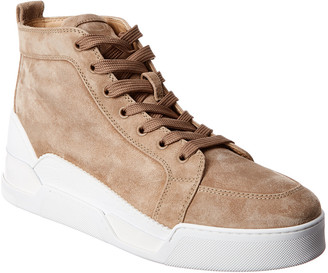 Christian Louboutin Rankick Suede & Croc-Embossed Leather High-Top Sneaker