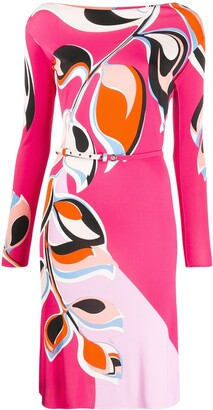 Emilio Pucci Leaf Print Belted Dress