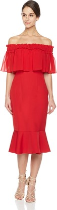 Social Graces Women's Off The Shoulder Sheer Ruffle Fluted Midi Skirt Bodycon Party Dress 8 Rich Red