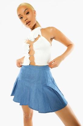 boohoo Pleated Denim Tennis Skirt
