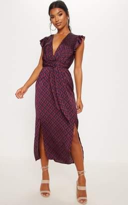 PrettyLittleThing Monochrome Stripe Satin Frill Shoulder Split Midi Dress