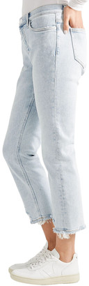 Current/Elliott Cropped Distressed High-rise Straight-leg Jeans