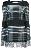 Prabal Gurung checked fringed jumper