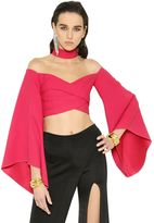 Balmain Flared Sleeves Cutout Cady Crop Top
