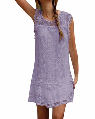 Zanzea Women's Summer Lace Crochet Sleeveless Long Tops Double Layer Hollow Sheer Cap Causal Shirt Short Mini Dresses