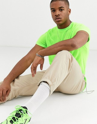 Asos Design DESIGN t-shirt with crew neck and roll sleeve in neon green