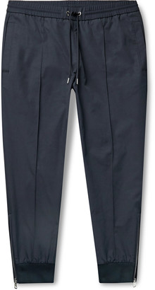 Moncler Navy Slim-Fit Tapered Nylon And Cotton-Blend Drawstring Trousers