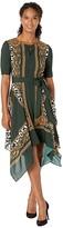 Adrianna Papell Medallion Scarf Animal Print Dress (Green Multi) Women's Dress