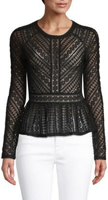 BCBGMAXAZRIA Lace Long-Sleeve Top