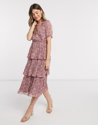 Y.A.S tiered midi dress in pink floral