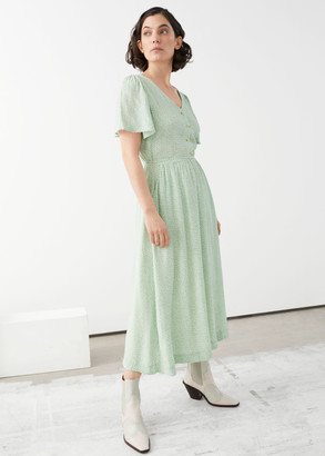 And other stories Gathered Flutter Sleeve Maxi Dress