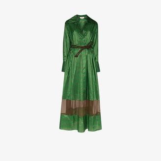 Fendi Gingham Silk Taffeta Maxi Dress