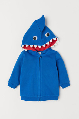 H&M Hooded Jacket with Appliques - Blue