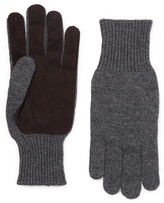 Brunello Cucinelli Suede-panelled Cashmere Gloves - Gray