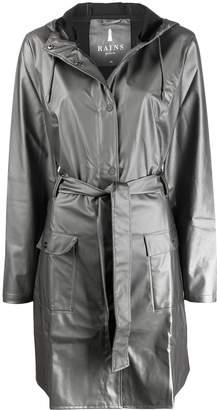 Rains tie-waist mid-length coat