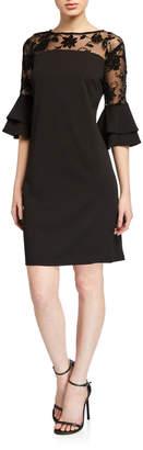 Chetta B Flocking Illusion Neck Ruffle Sleeve Dress