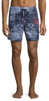 Vilebrequin Moorea Sonar-Turtle Printed Swim Trunks, White