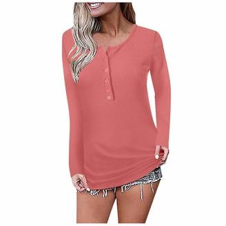 Kolila Women Long Sleeve Tops kolila 2019 Women's Waffle Knit Tunic Tops Loose Long Sleeve Button Up V Neck Henley Shirts Strappy Tank Shirts Blouses (Pink S)