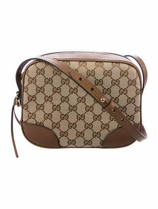 Gucci Mini Bree GG Canvas Messenger Bag Brown