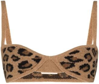 KHAITE Eda leopard knit bra-style top