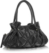 Fontanelli Pleated Nappa Leather Satchel Bag