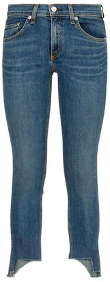 Rag & Bone Capri Distressed Hem Skinny Jeans