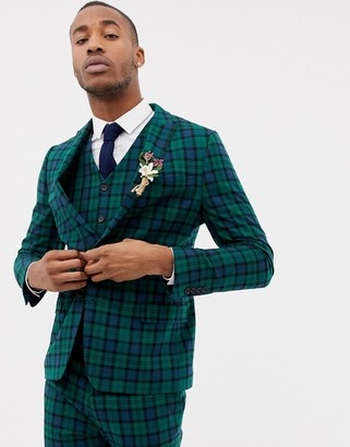Asos Design DESIGN wedding skinny suit jacket in blackwatch tartan-Green
