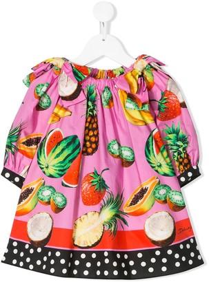 Dolce & Gabbana Fruit Print Flared Dress