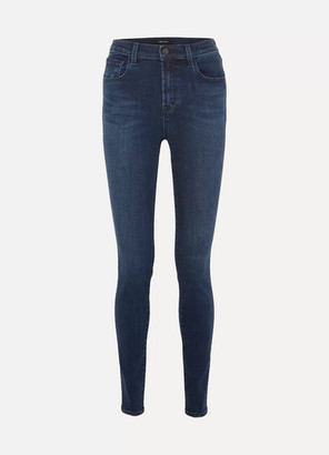 "J Brand Carolina 32"" High-rise Skinny Jeans - Dark denim"