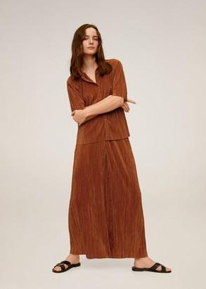 MANGO Pleated shirt ochre - M - Women