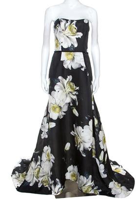 Carolina Herrera Black Floral Printed Silk Strapless Gazaar Gown L