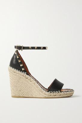 Valentino Garavani Rockstud 105 Textured-leather Espadrille Wedge Sandals - Black