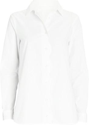 Ganni Scalloped Poplin Button-Down Shirt