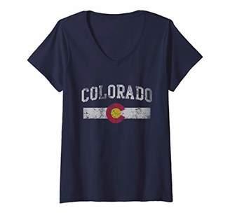 Womens Colorado Flag Retro Faded Gift V-Neck T-Shirt