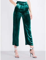Mo&Co. High-rise flared velour trousers