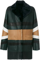 Drome stripe panel fur lined coat