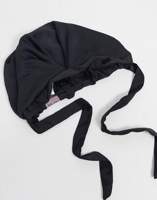 Kitsch Satin Sleep Bonnet - Black-No color