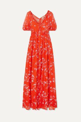 Nicholas Ruffled Floral-print Silk-chiffon Maxi Dress - Orange