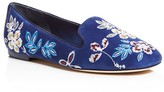 Tory Burch Floral Embroidered Smoking Slippers