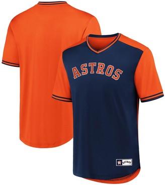 Men's Fanatics Branded Navy/Orange Houston Astros Iconic Walk Off V-Neck Jersey T-Shirt