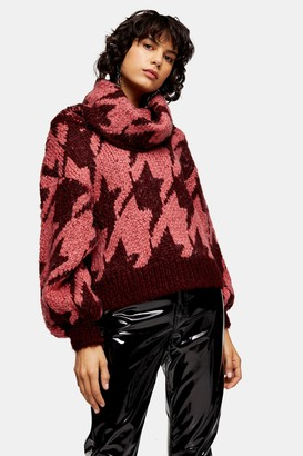 Topshop Knitted Houndstooth Sweater