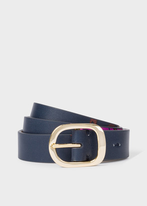 Paul Smith Women's 'Scattered Floral' Emboss Leather Gold Buckle Belt