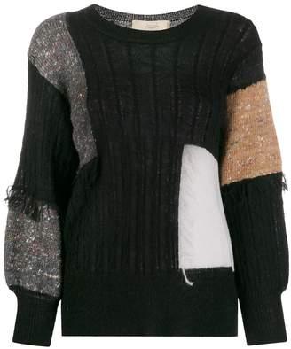 Maison Flaneur patch-work long sleeve jumper