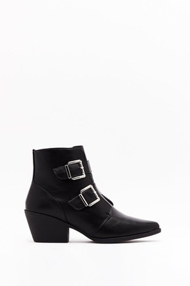Nasty Gal Womens Double Trouble Faux Leather Buckle Boots - Black - 3