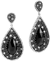 John Hardy Batu Classic Chain Sterling Silver Drop Earrings with Black Chalcedony, Black Sapphire and White Sapphire