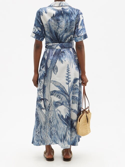 Thumbnail for your product : F.R.S For Restless Sleepers Castalia Foliage-print Cotton-blend Shirtdress - Blue Print