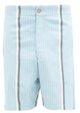 P. Le Moult - Striped Brushed-cotton Pyjama Shorts - Blue Multi