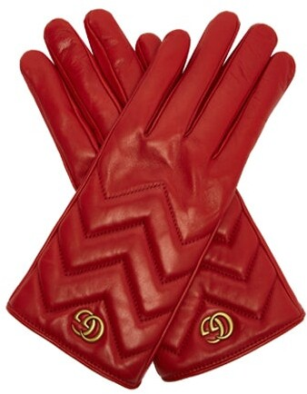 Gucci Gg Marmont Chevron Quilted Leather Gloves - Womens - Red