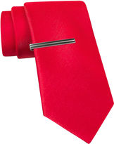 Jf J.Ferrar JF Black Satin Tie and Tie Bar Set - Slim